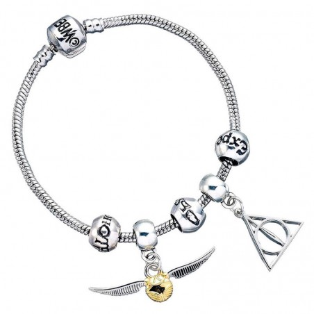 Pulsera plateada charms Deathly Hallows Snitch 3 Spellbeads Harry Potter